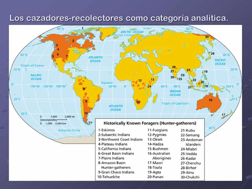 Distribución mundial de los cazadores-recolectores