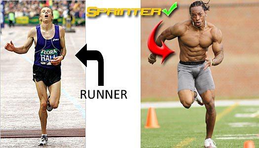 Cuerpo de maratoniano y velocista