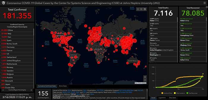 ;apa interactivo desarrollado por la Universidad Johns sobre la infección SARS-CoV 2