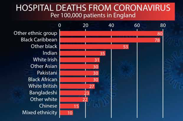 Tasa de mortalidad por COVID-19 según etnias