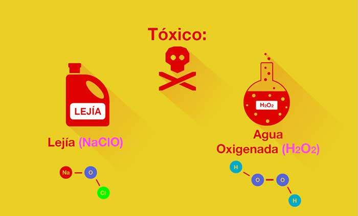 Tanto la lejía como al agua oxigenada son tóxicos