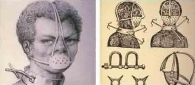 El bozal forma parte del genocidio infantil porque induce sumisión adquirida (representaciones de esclavos en los USA del s. XIX).