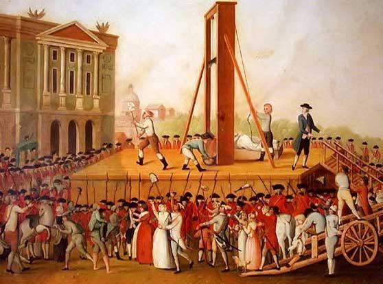 Ejecución de Marie Antoniette en la plaza de la revolución.